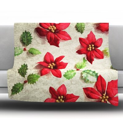 Poinsettia Fleece Throw Blanket Size: 40 L x 30 W