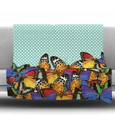 Butterfly Fleece Throw Blanket Size: 80 L x 60 W, Color: Blue