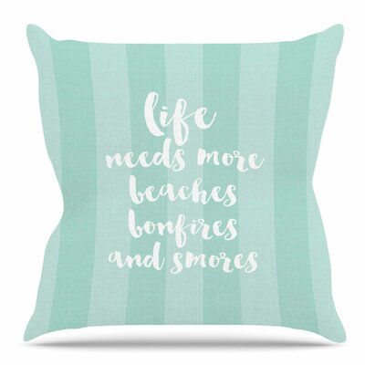 Beaches and Bonfires Throw Pillow Size: 16 H x 16 W x 3 D, Color: Coral
