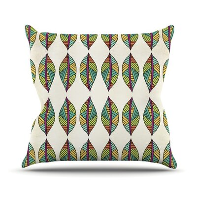 Tribal Leaves Outdoor Throw Pillow