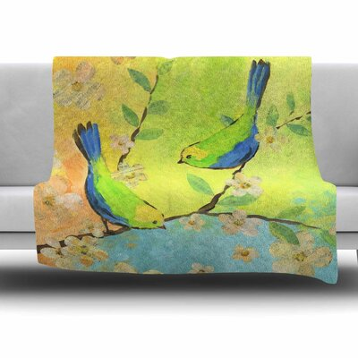 Song Birds by Jacqueline Milton Fleece Blanket Size: 80 L x 60 W