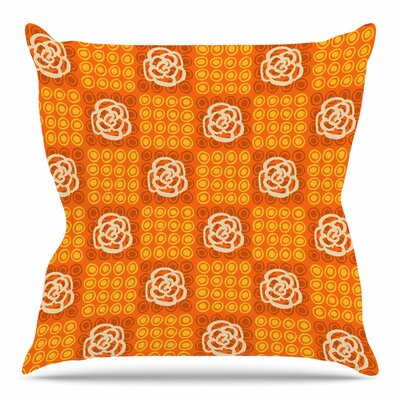 Polka Dot Rose by Jane Smith Throw Pillow Size: 18 H x 18 W