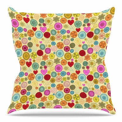 Vintage Buttons by Jane Smith Throw Pillow Size: 18 H x 18 W