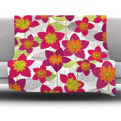 Star Flower by Jacqueline Milton Fleece Blanket Size: 80 L x 60 W