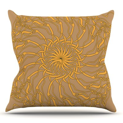 Mandala Spin Latte by Patternmuse Throw Pillow Size: 20 H x 20 W