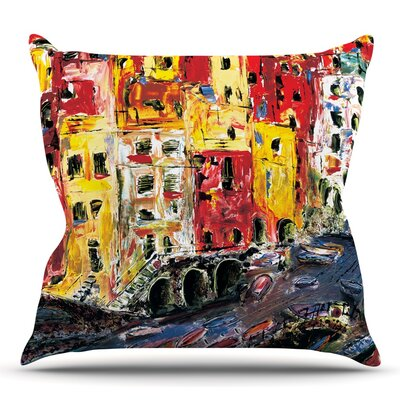 Cinque Terre by Josh Serafin Throw Pillow Size: 26 H x 26 W