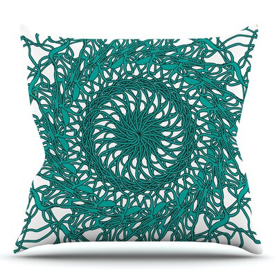 Mandala Spin Jade by Patternmuse Throw Pillow Size: 16 H x 16 W