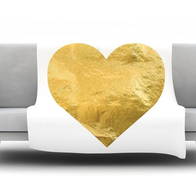 Heart of Gold Fleece Blanket Size: 80 L x 60 W
