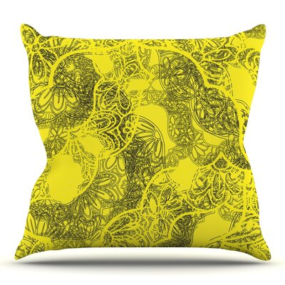 Mandala Lemon by Patternmuse Throw Pillow Size: 26 H x 26 W