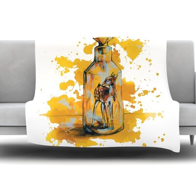 Vintage Bottled Deer by Kira Crees Fleece Blanket Size: 60 L x 50 W