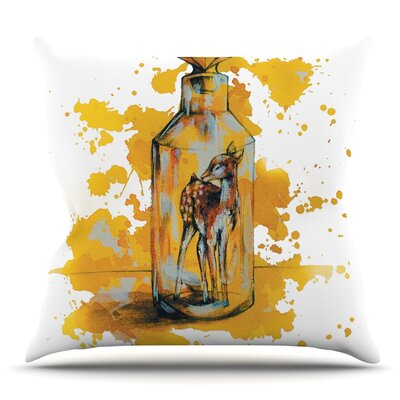 Vintage Bottled Deer by Kira Crees Throw Pillow Size: 16 H x 16 W