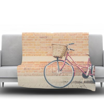 A Bicycle by Laura Evans Fleece Blanket Size: 40 L x 30 W