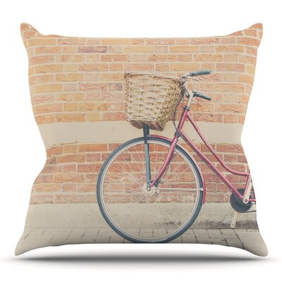 A Bicycle by Laura Evans Throw Pillow Size: 26 H x 26 W