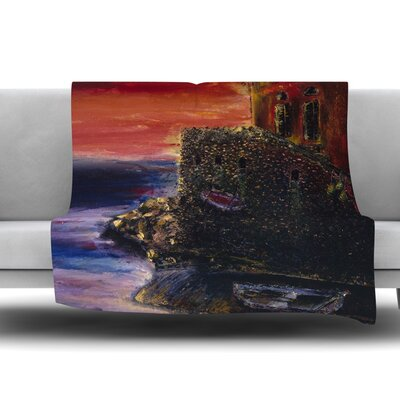 Seaside Village by Josh Serafin Fleece Blanket Size: 60 L x 50 W