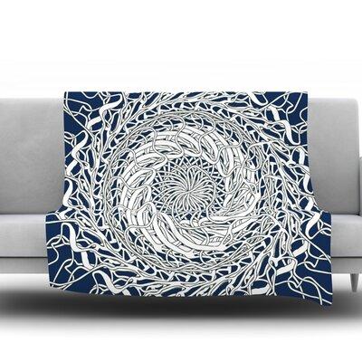 Mandala Spin Navy by Patternmuse 30 Fleece Blanket
