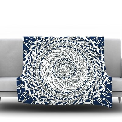 Mandala Spin Navy by Patternmuse 60 Fleece Blanket