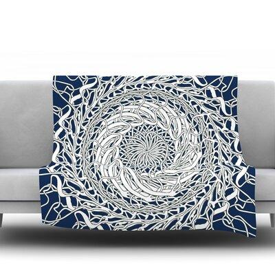Mandala Spin Navy by Patternmuse 80 Fleece Blanket