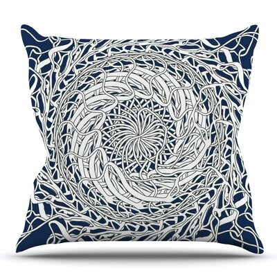 Mandala Spin Navy by Patternmuse Throw Pillow Size: 18