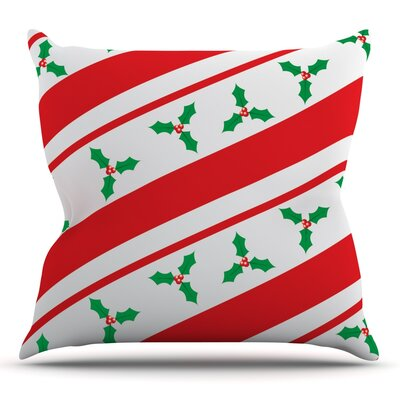 Holiday Holly Throw Pillow Size: 18