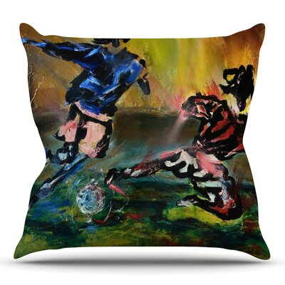 Slidetackle by Josh Serafin Throw Pillow Size: 18 H x 18 W