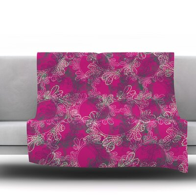 Jaipur Berry by Patternmuse Fleece Blanket Size: 80 L x 60 W