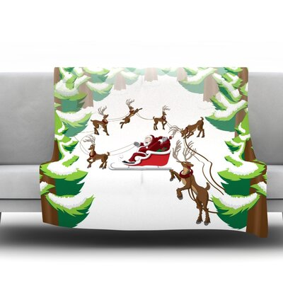 Forest Sleigh Scene Fleece Blanket Size: 40 L x 30 W