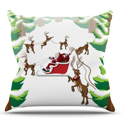 Forest Sleigh Scene Throw Pillow Size: 18 H x 18 W