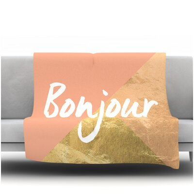 Bonjour Gold Fleece Blanket Size: 90 L x 90 W
