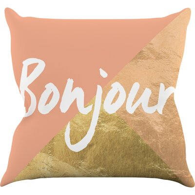 Bonjour Gold Throw Pillow Size: 26 H x 26 W