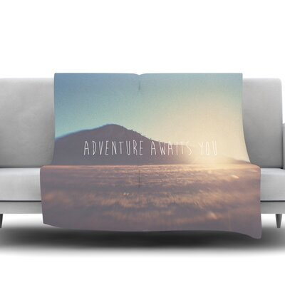 Adventure Awaits You by Laura Evans Fleece Blanket Size: 60 L x 50 W