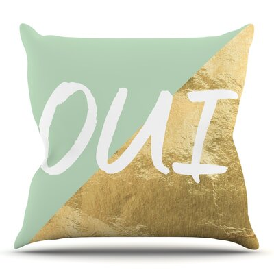 Oui Gold Throw Pillow Size: 18 H x 18 W