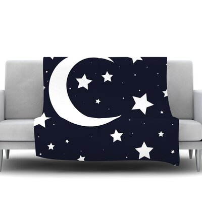 Moon & Stars Fleece Blanket Size: 40 L x 30 W
