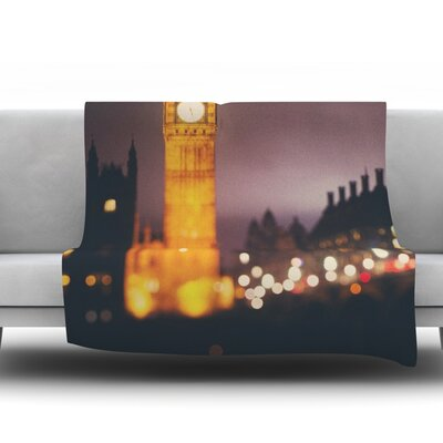 Westminster at Night by Laura Evans Fleece Blanket Size: 40 L x 30 W