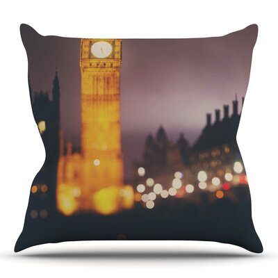 Westminster at Night by Laura Evans Throw Pillow Size: 16 H x 16 W