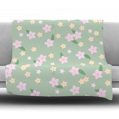 Spring Floral Fleece Blanket Size: 80 L x 60 W