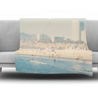 Santa Monica Beach by Laura Evans Fleece Blanket Size: 40 L x 30 W