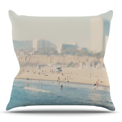 Santa Monica Beach by Laura Evans Throw Pillow Size: 18 H x 18 W