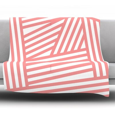 Rose Stripes by Louise Machado Fleece Blanket Size: 80 L x 60 W