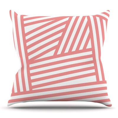 Rose Stripes by Louise Machado Throw Pillow Size: 18 H x 18 W