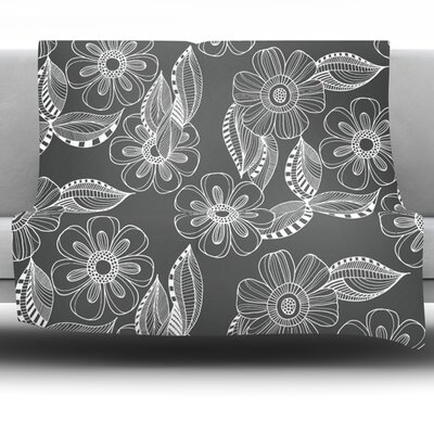 Floral Ink by Louise Machado Fleece Blanket Size: 80 L x 60 W