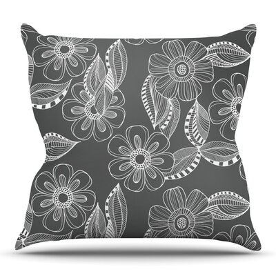 Floral Ink by Louise Machado Throw Pillow Size: 26 H x 26 W