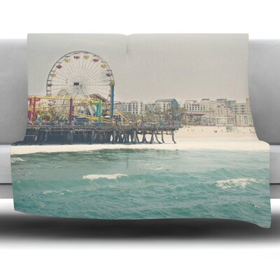 The Pier at Santa Monica by Laura Evans Fleece Blanket Size: 90 L x 90 W