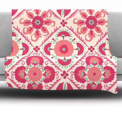 Bukhara Coral by Laura Nicholson Fleece Blanket Size: 40 L x 30 W