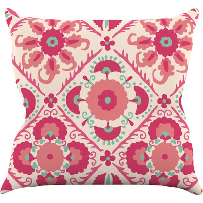 Bukhara Coral by Laura Nicholson Throw Pillow Size: 18 H x 18 W