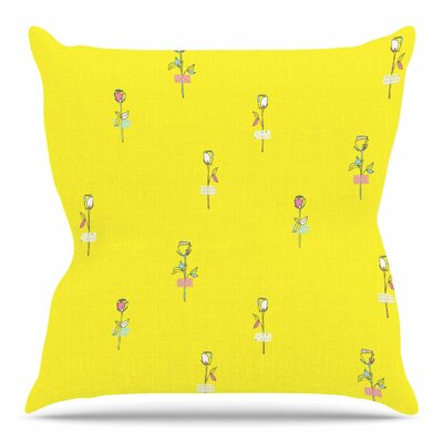 Rosewall / Yellow by MaJoBV Throw Pillow Size: 16 H x 16 W