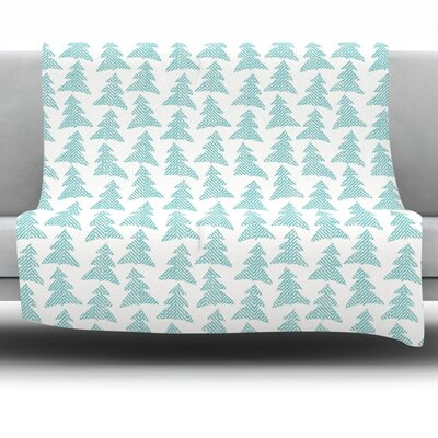 Herringbone Forest Teal by Michelle Drew Fleece Blanket Size: 80 L x 60 W