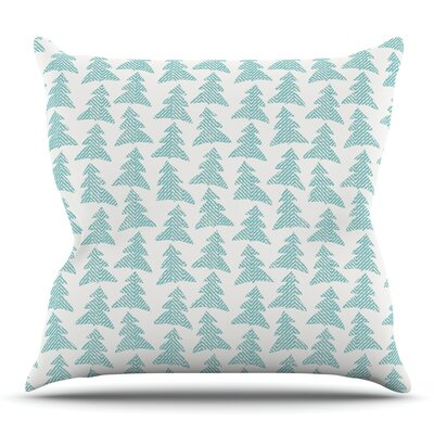 Herringbone Forest Teal by Michelle Drew Throw Pillow Size: 16