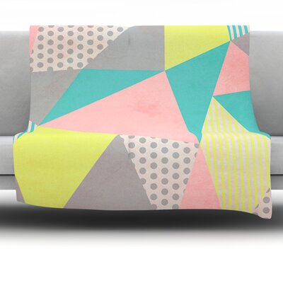 Geometric Pastel by Louise Machado Fleece Blanket Size: 80 L x 60 W