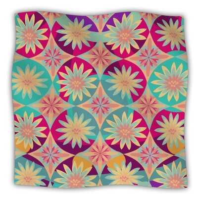 Happy Flowers by Nika Martinez Fleece Blanket Size: 60 L x 50 W