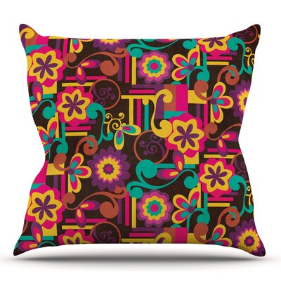Arabesque Floral by Louise Machado Throw Pillow Size: 26 H x 26 W